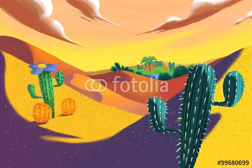Illustration Yellow Desert Realistic Fantastic Cartoon Style Artwork 500x334