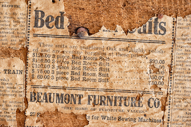 Old newspaper wallcovering William Britten use with permission only 630x420