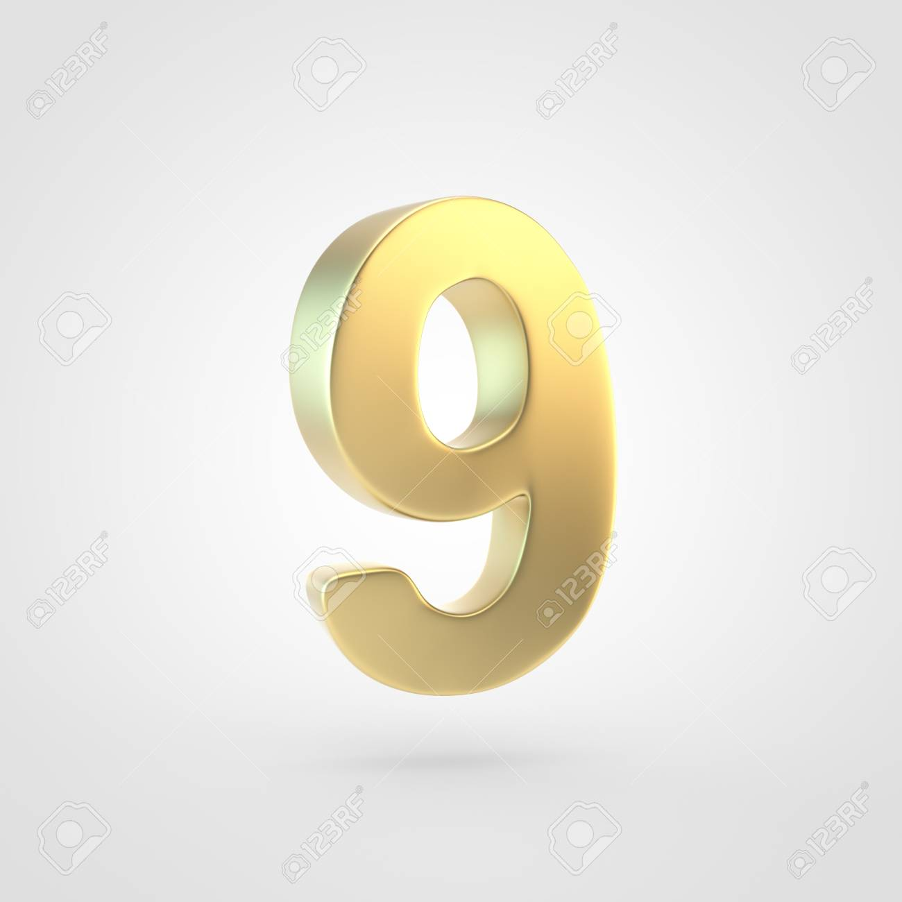 Golden Number 9 3D Rendering Of Matted Golden Font Isolated 1300x1300