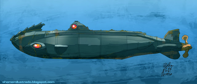 Nautilus Submarine Drawing Jules vernes nautilus 640x274