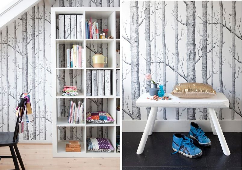 into your home office and decorate the walls with beautiful wallpaper 804x564