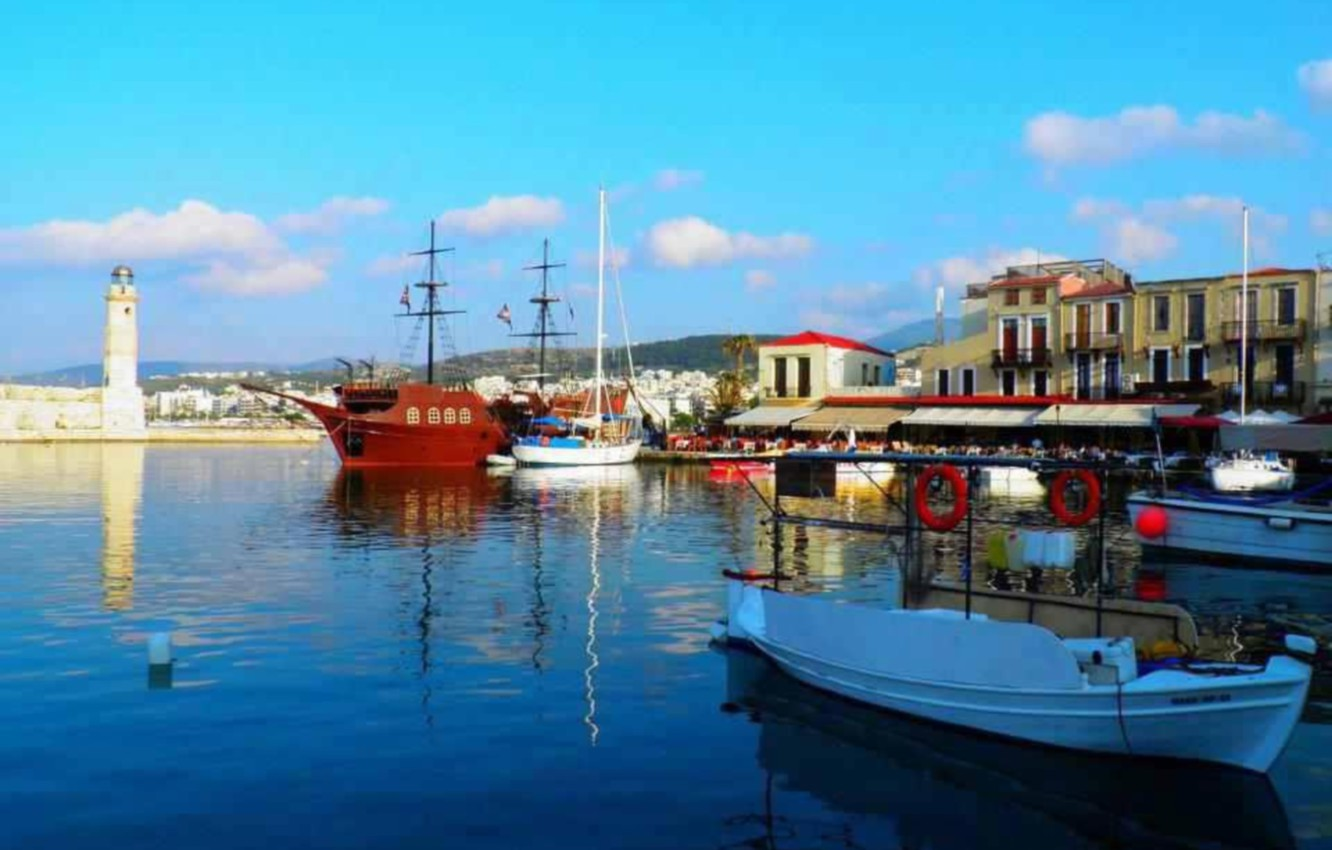 Wallpaper shore port Greece greece pirs navi Crete crete 1332x850