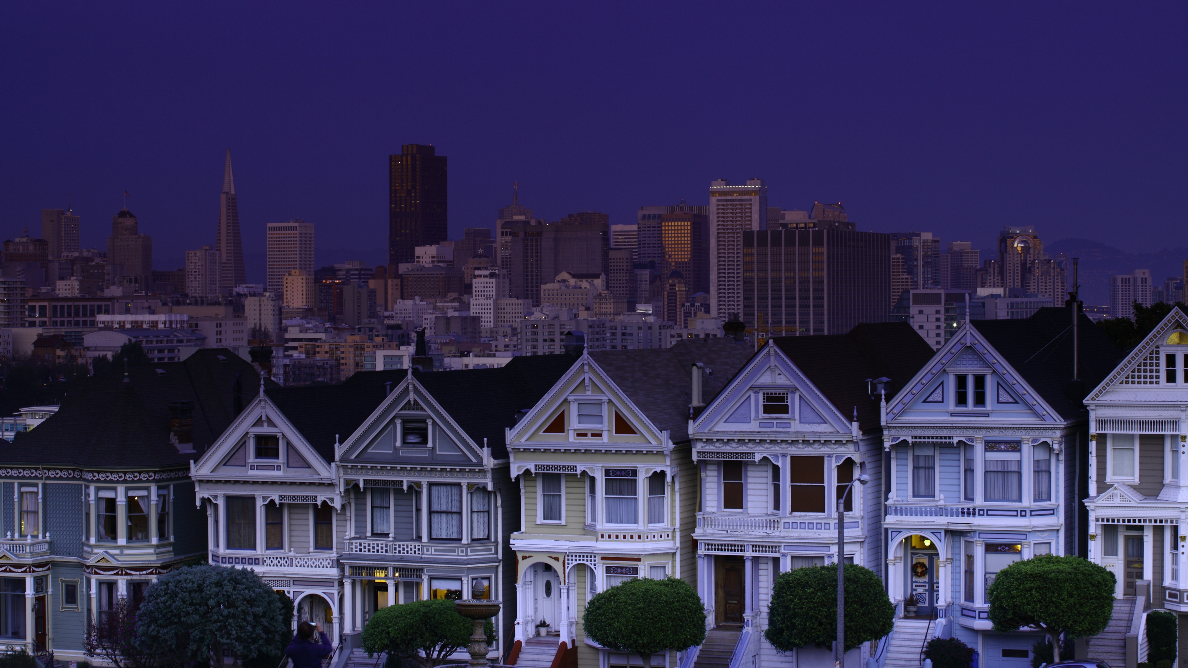 3840x2160 Wallpaper usa san francisco night blue sky moon 3840x2160