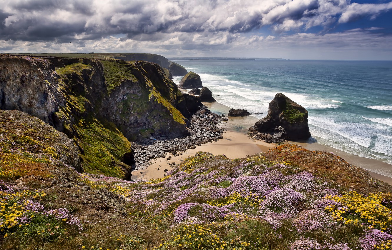 Wallpaper rocks coast England England Cornwall Bedruthan 1332x850