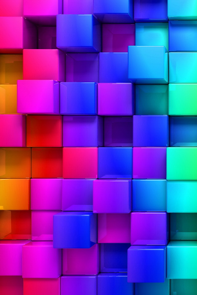 3D Colorful Cubes Wallpaper   iPhone Wallpapers 640x960