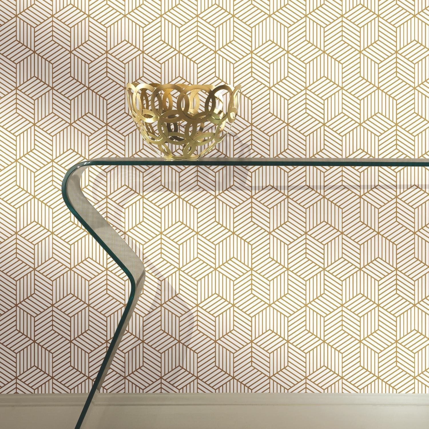 RoomMates Gold and White Stripped Hexagon Peel and Stick Wallpaper 1500x1500