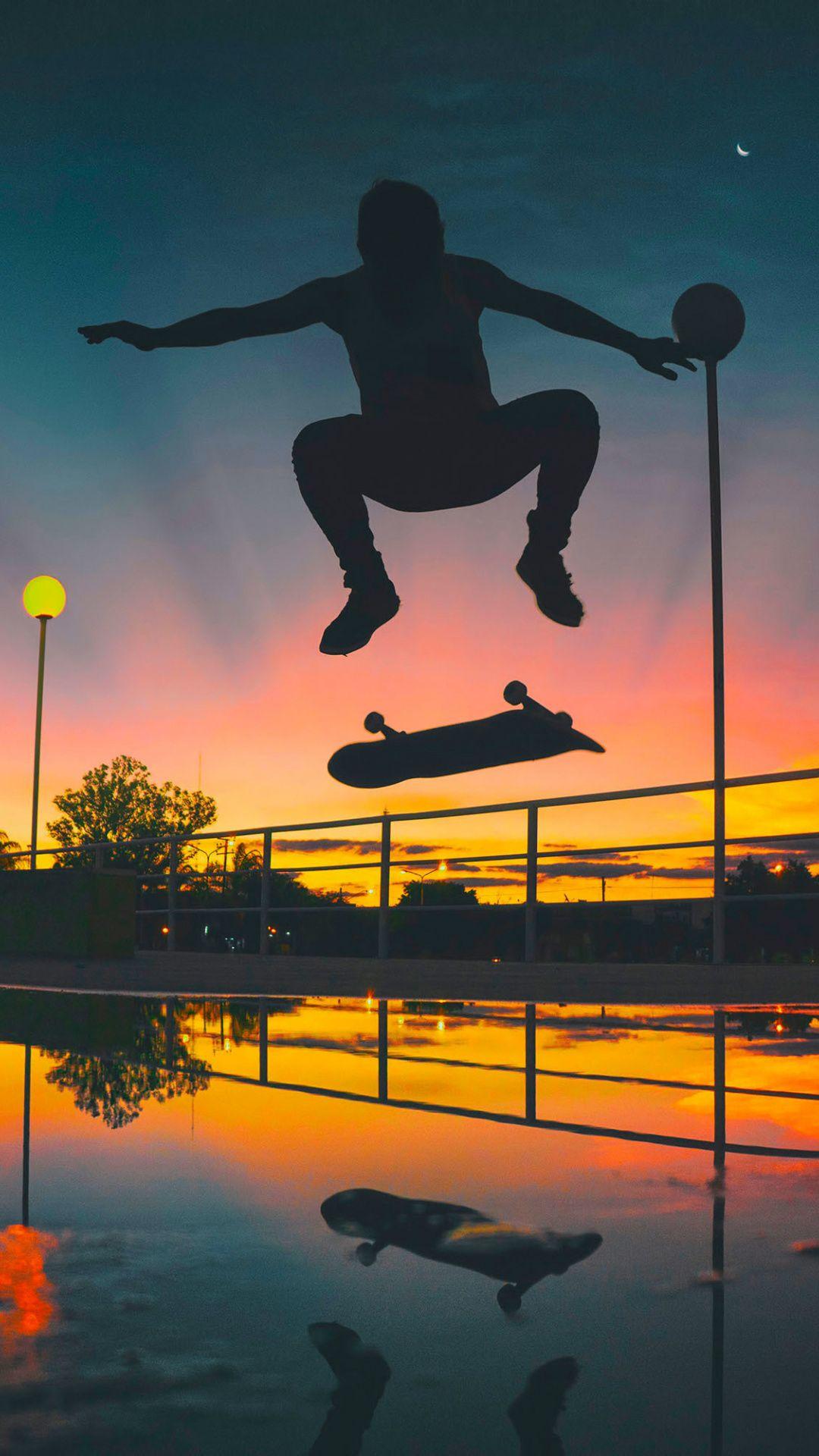 Man skateboarding sports sunset silhouette 1080x1920 1080x1920