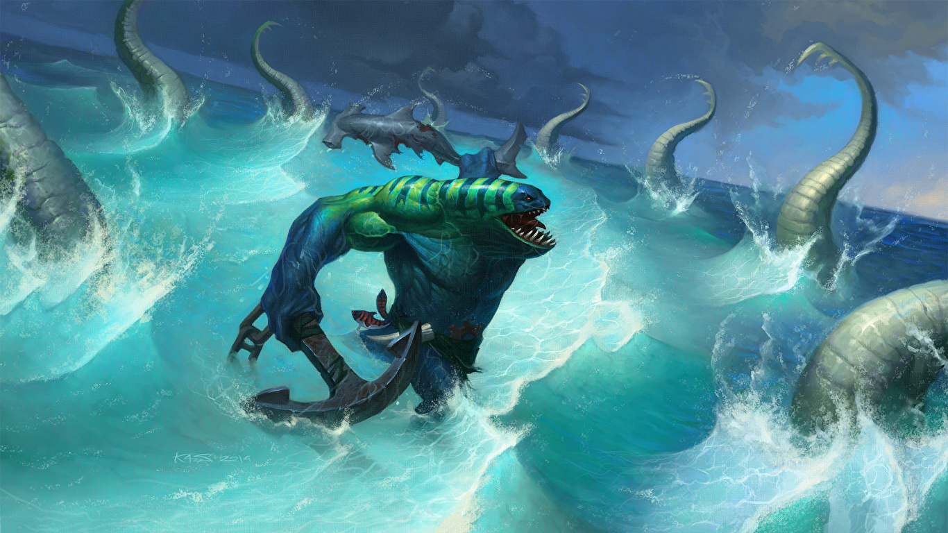 Picture DOTA 2 Tidehunter Monsters Fantasy Games 1366x768 1366x768