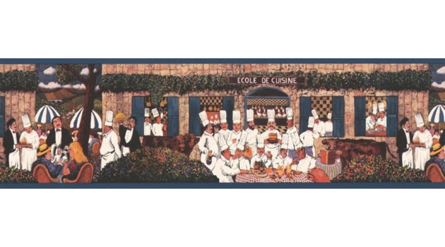 Home Navy Blue Jack Le Bistro Wallpaper Border 900x500