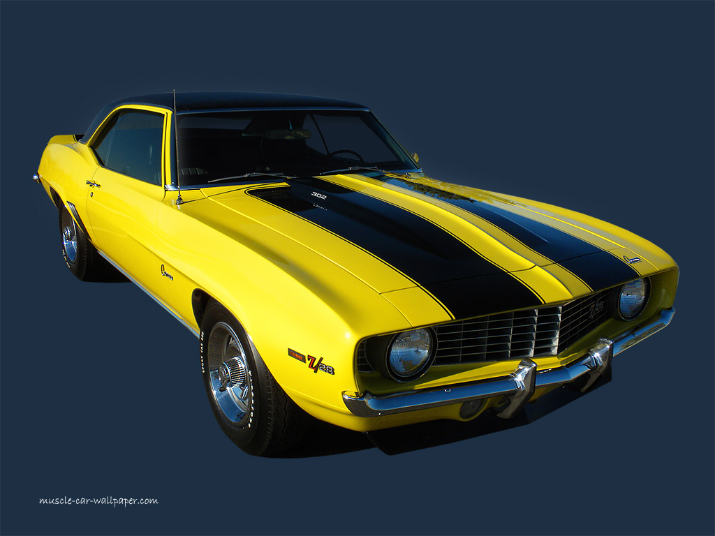 1969 Camaro Z28 Wallpaper   Yellow Sport Coupe   Right Front View 1024x768