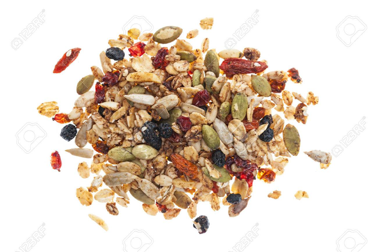 Pile Of Homemade Granola With Various Seeds And Berries Shot 1300x866