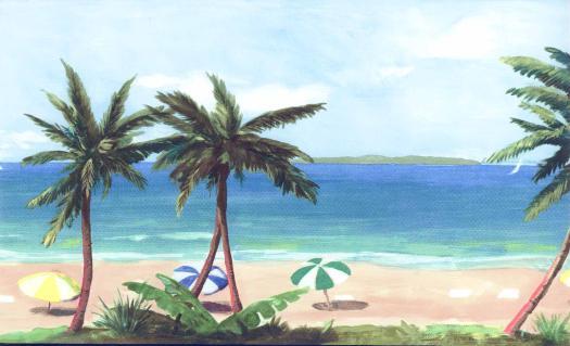 Beach Paradise Wallpaper Border Wallpaper Border OA4606B 525x319