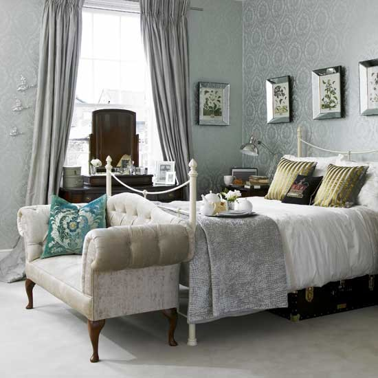 Damask wallpaper bedroom Bedroom ideas Sofa housetohomecouk 550x550