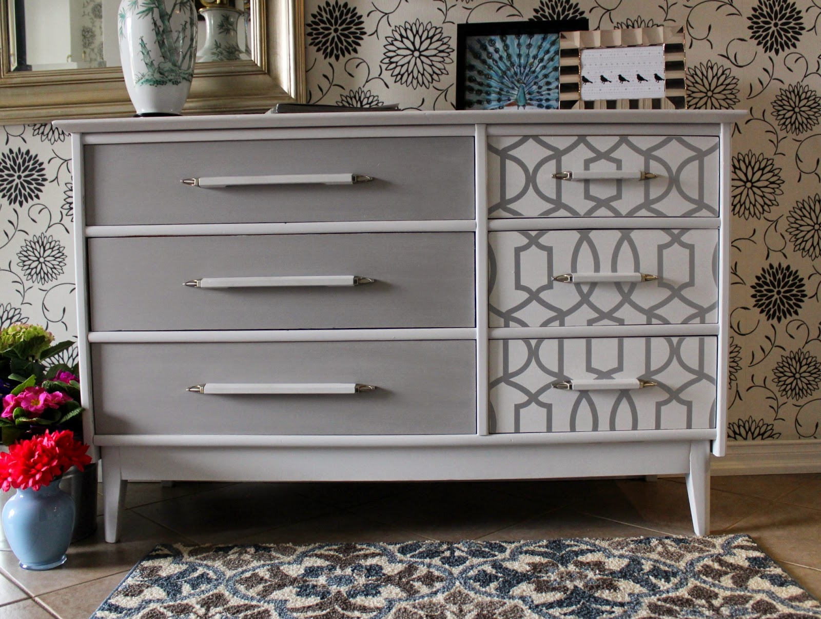 Re tiqued by Rae Bond Wallpaper and Gray Dresser 1600x1207