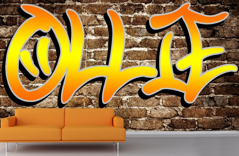 custom name graffiti wallpaper mural custom made to fit your wall size 764x500