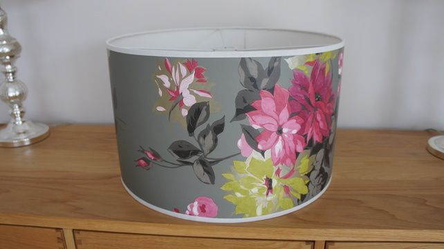 50cm Drum Lampshade in Designers Guild Portier Clover wallpaper 642x360