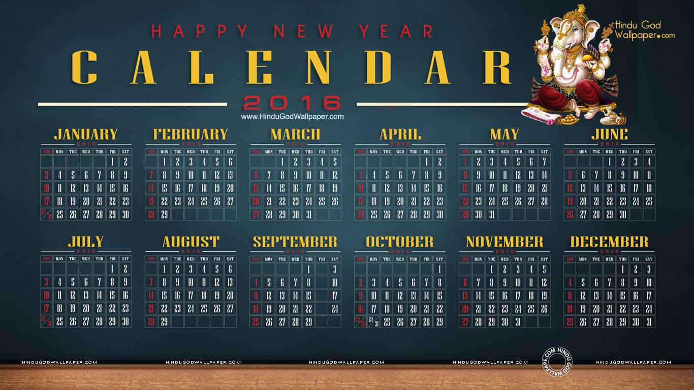 Desktop Calendar 2016 Wallpaper for Computer Desktop 1366x768