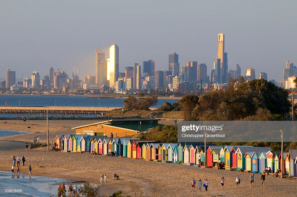 Bathing Boxes At Middle Brighton Beach With City Skyline In 1024x680