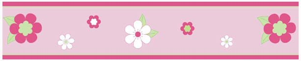 Kids Pink and Green Flowers Wallpaper Border for Girls Room or Nursery 613x125