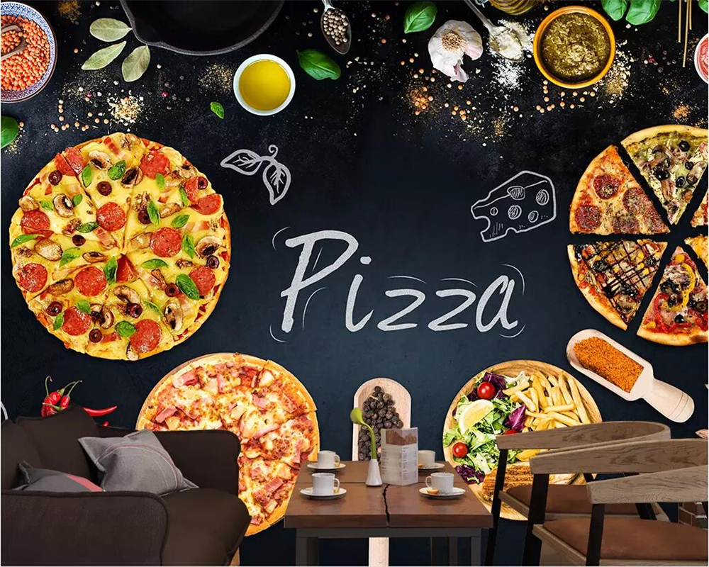 BEIBEHANG Custom wallpaper 3D mural personality pizza cake shop 1000x800