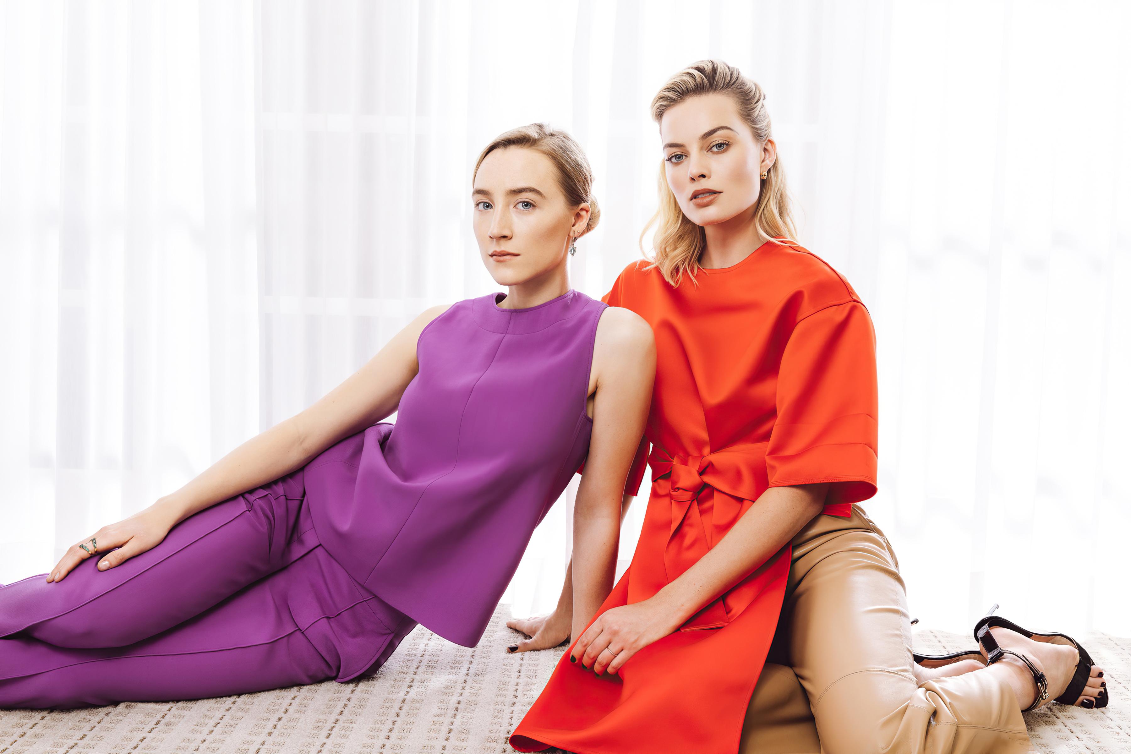 Margot Robbie and Saoirse Ronan Wallpaper HD Celebrities 4K 3600x2400