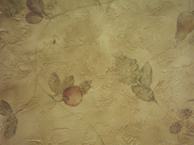 Hand painted fruit on distressed plaster 640x480