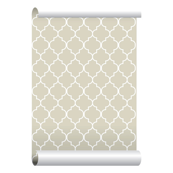 Self adhesive Removable Wallpaper Moroccan Print Beige Wallpaper 570x570