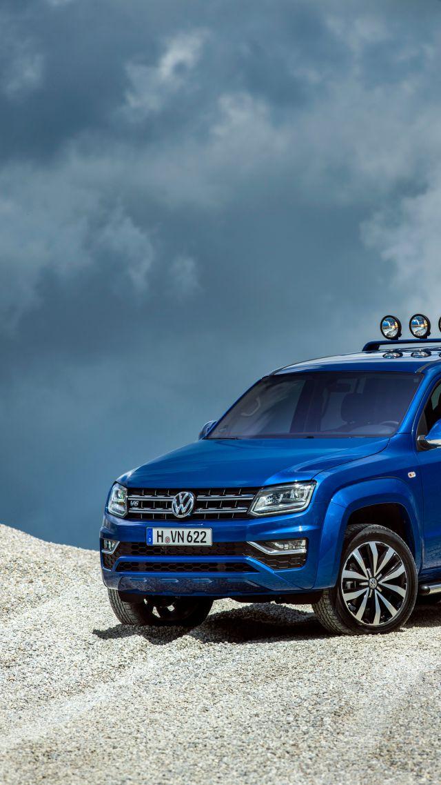 Wallpaper Volkswagen Amarok Double Cab Aventura pick up blue 640x1138