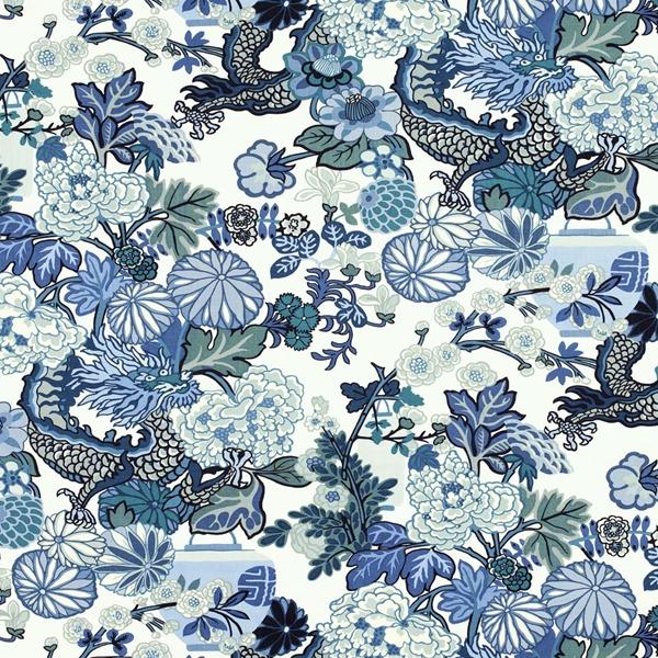 Schumacher Chiang Mai Dragon Wallpaper China Blue 600x600