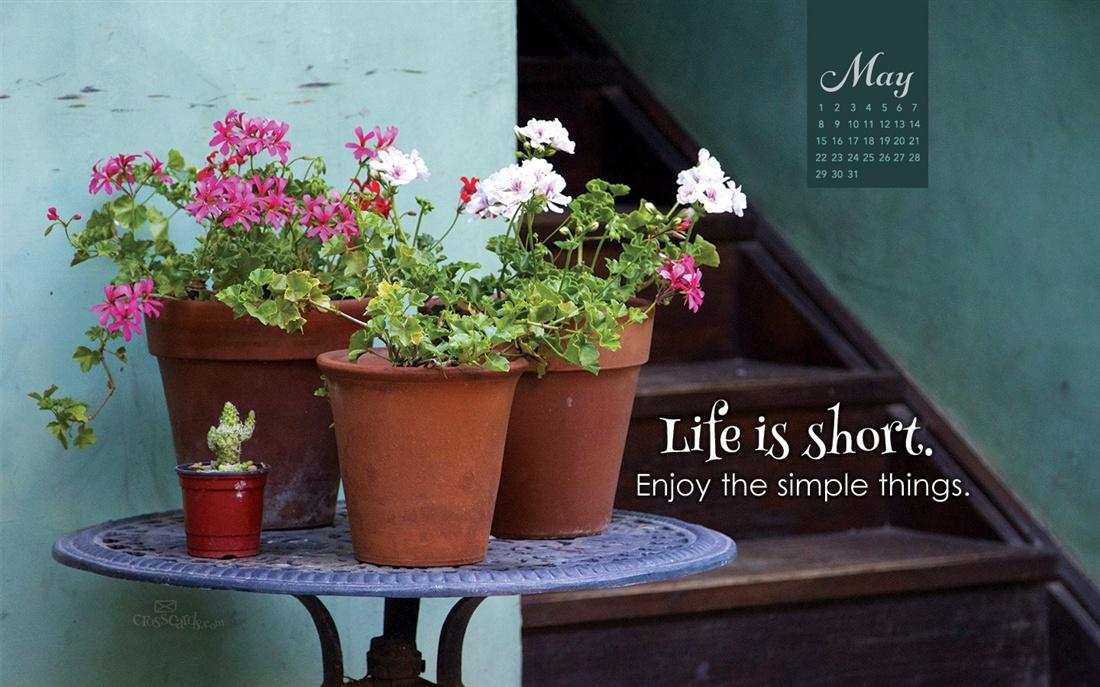 May 2016   Life Is Short Desktop Calendar  May Wallpaper 1100x687