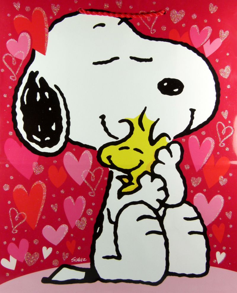 Snoopy Valentines Day Gift Bag Snoopn4pnutscom 800x991