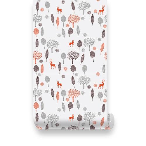 Wallplays  Forest Deer PEEL STICK Repositionable Fabric Wallpaper 500x500