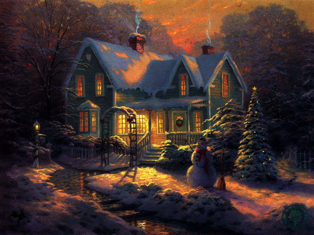 3D Christmas Cottage WallpaperComputer Wallpaper 1024x768