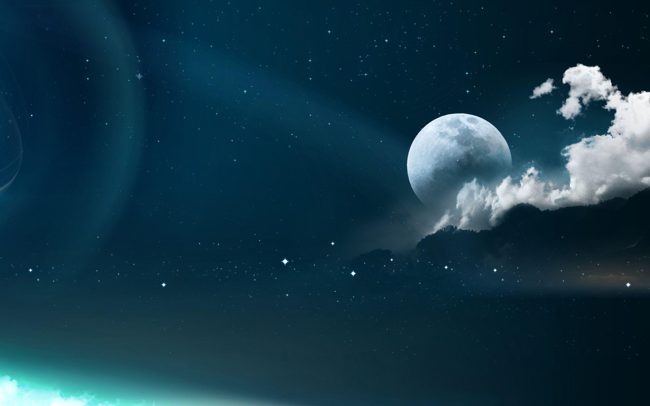 moon and stars - HD2560×1600
