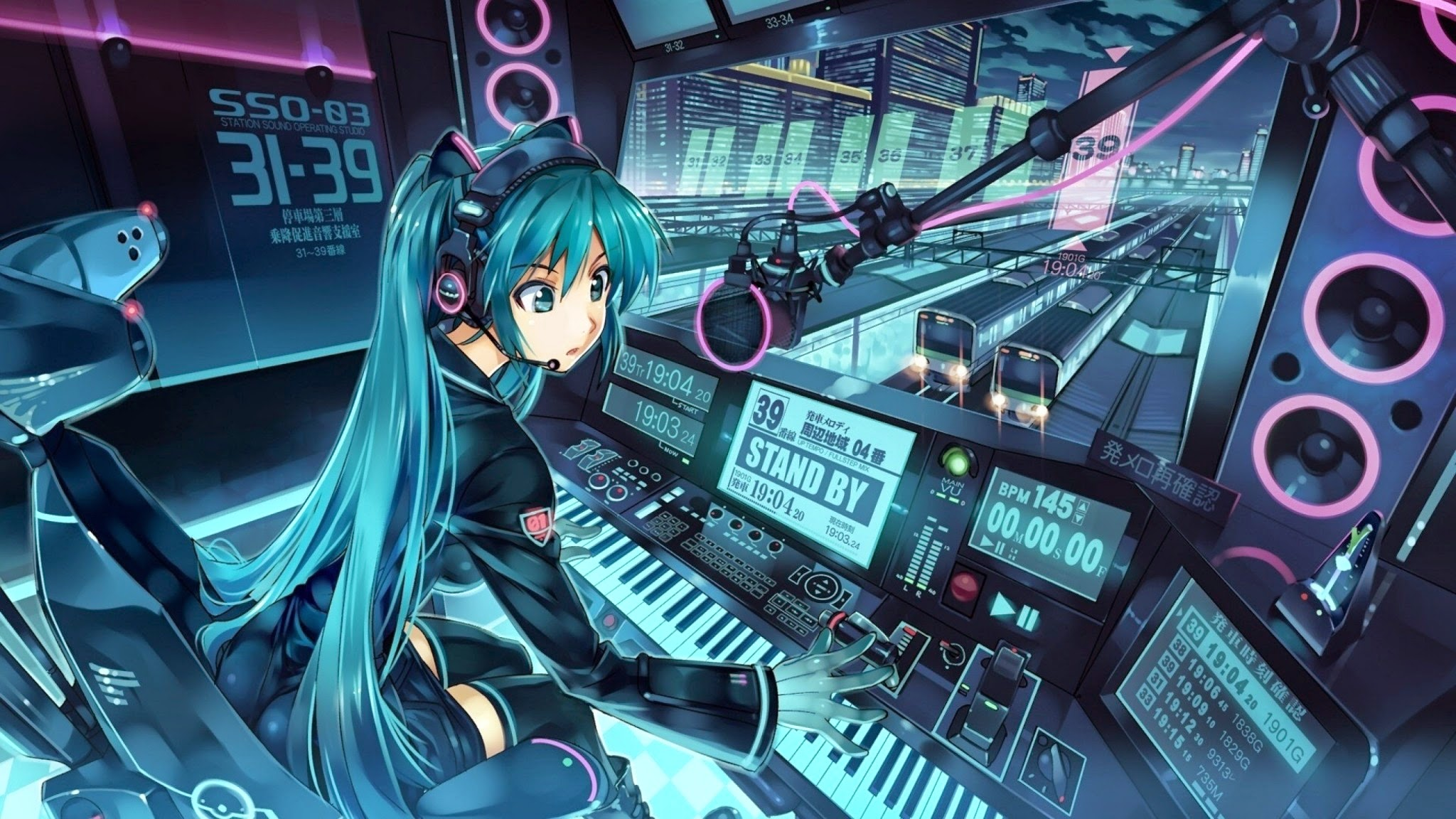 Anime Techno Wallpaper Vocaloid hatsune miku anime dj 2048x1152