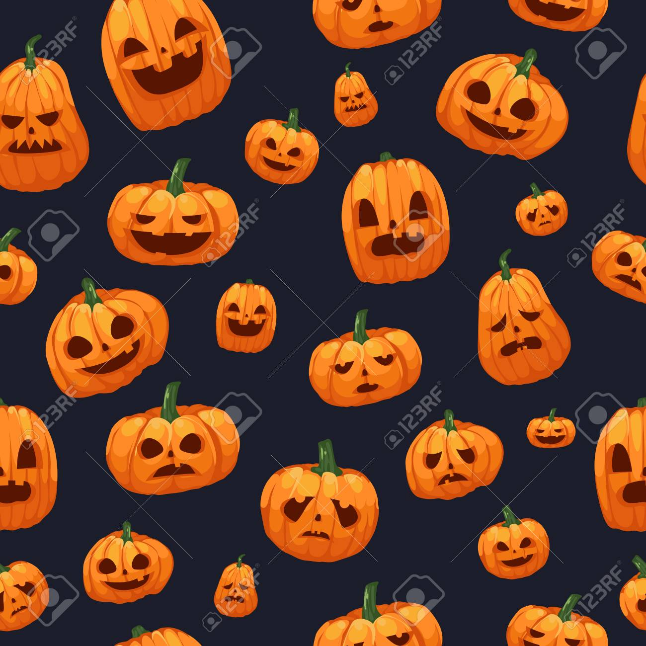 A Vector Illustration Of Pumpkins Jack O Lantern Seamless 1300x1300