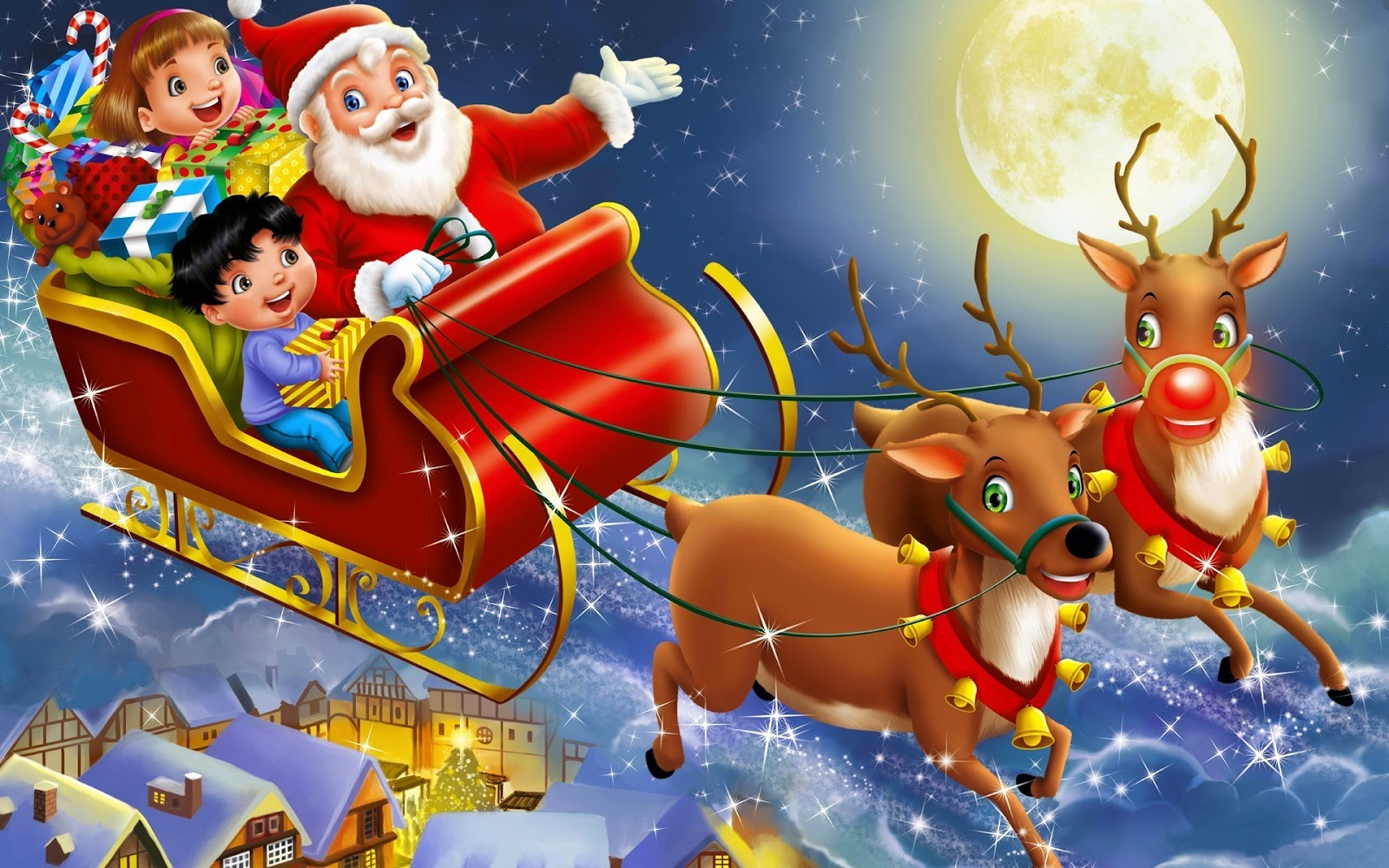 29 Santa S Sleigh In The Sky Wallpapers On Wallpapersafari