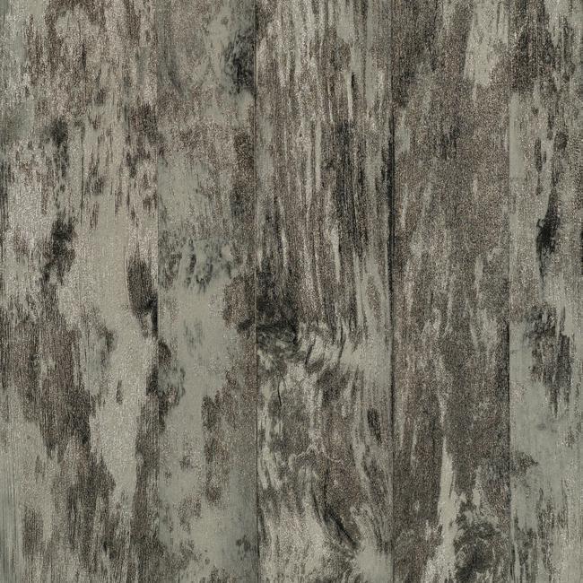 Wallpaper Vinyl Faux Reclaimed Wood Planks Black Gray Metallic Silver 650x650