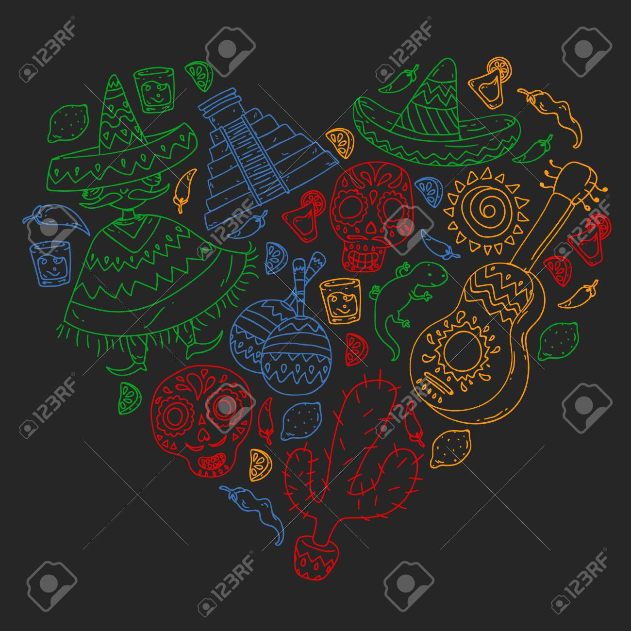 Travel To Mexico Vector Set With Ethnic Elemets For Wallpapers 1300x1300
