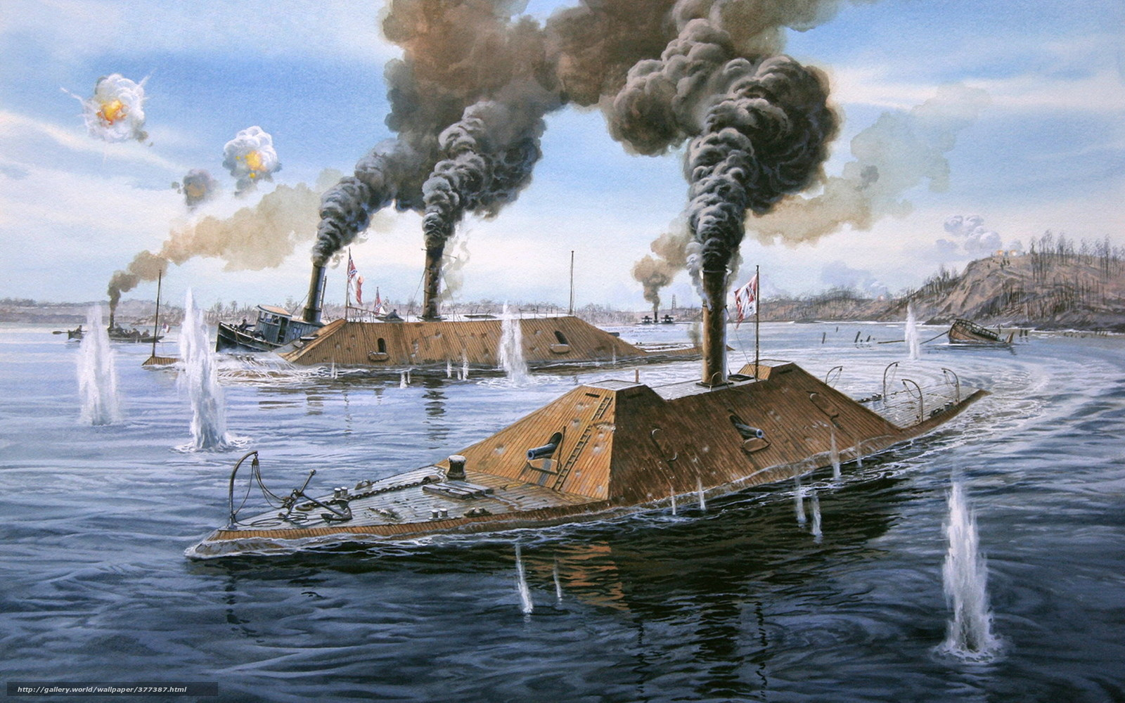 wallpaper armadillo civil war USA sea fight desktop wallpaper 1600x1000