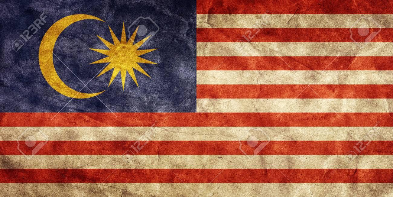 Malaysia Grunge Flag Vintage Retro Style High Resolution 1300x652