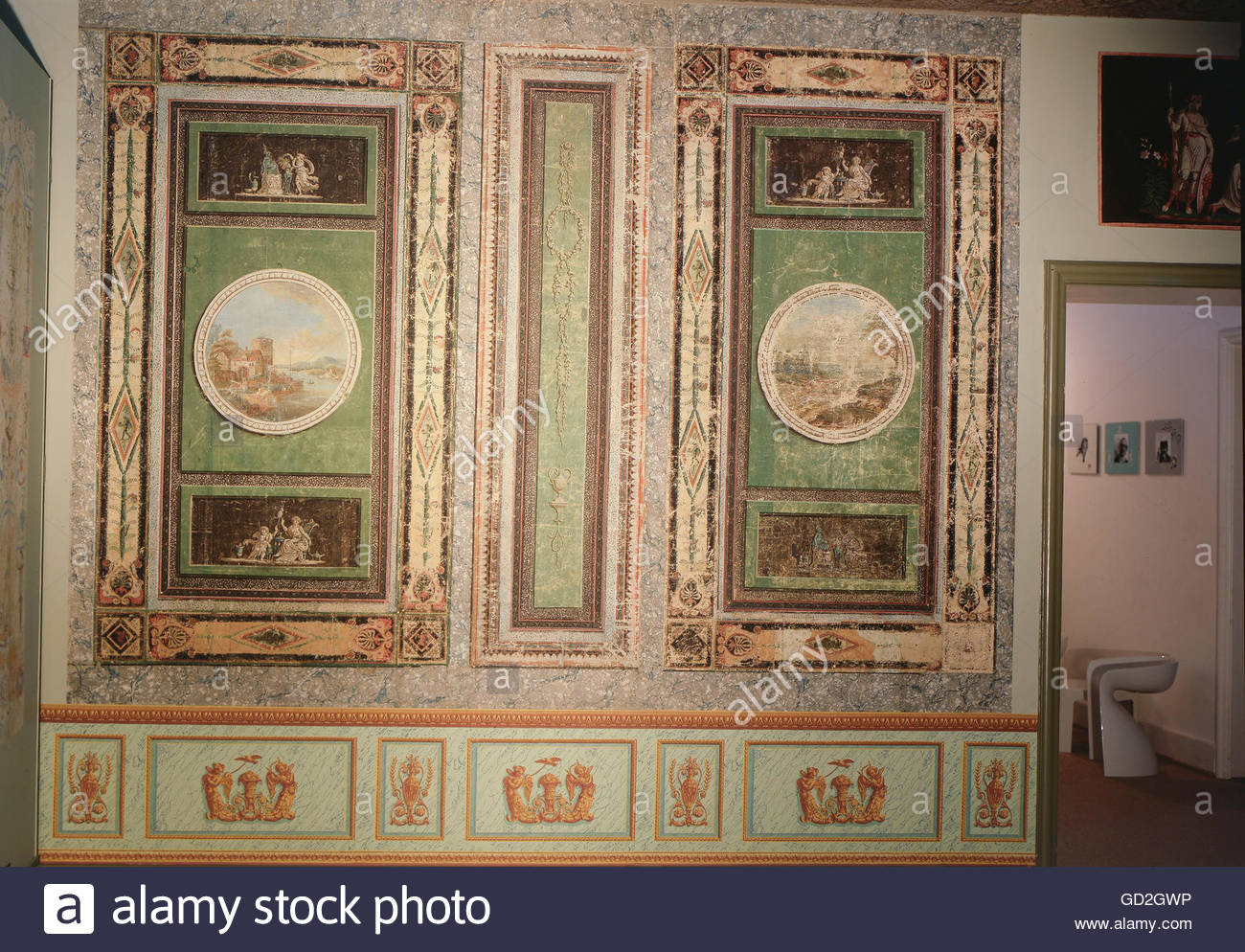 fine arts wallpaper Pompeian cabinet after mural paintings 1300x994