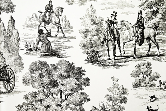 Fox Hunting Wallpaper Toile Wallpaper in cream with black etched toile 534x358