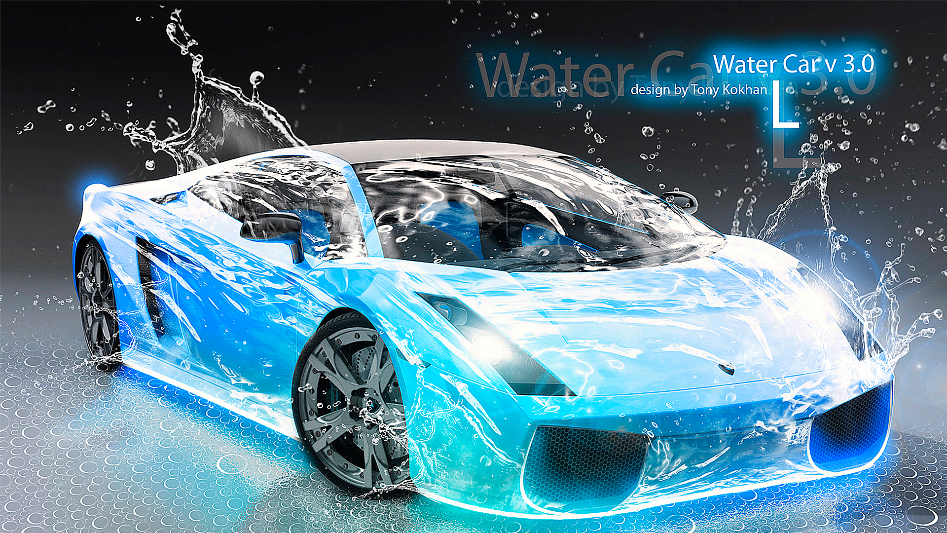 Lamborghini Gallardo Water Car Blue 2012 HD Wallpapers design by Tony 1920x1080