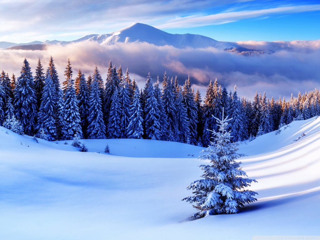 Winter Season Mountains 4K HD Desktop Wallpaper for 4K Ultra 1024x768
