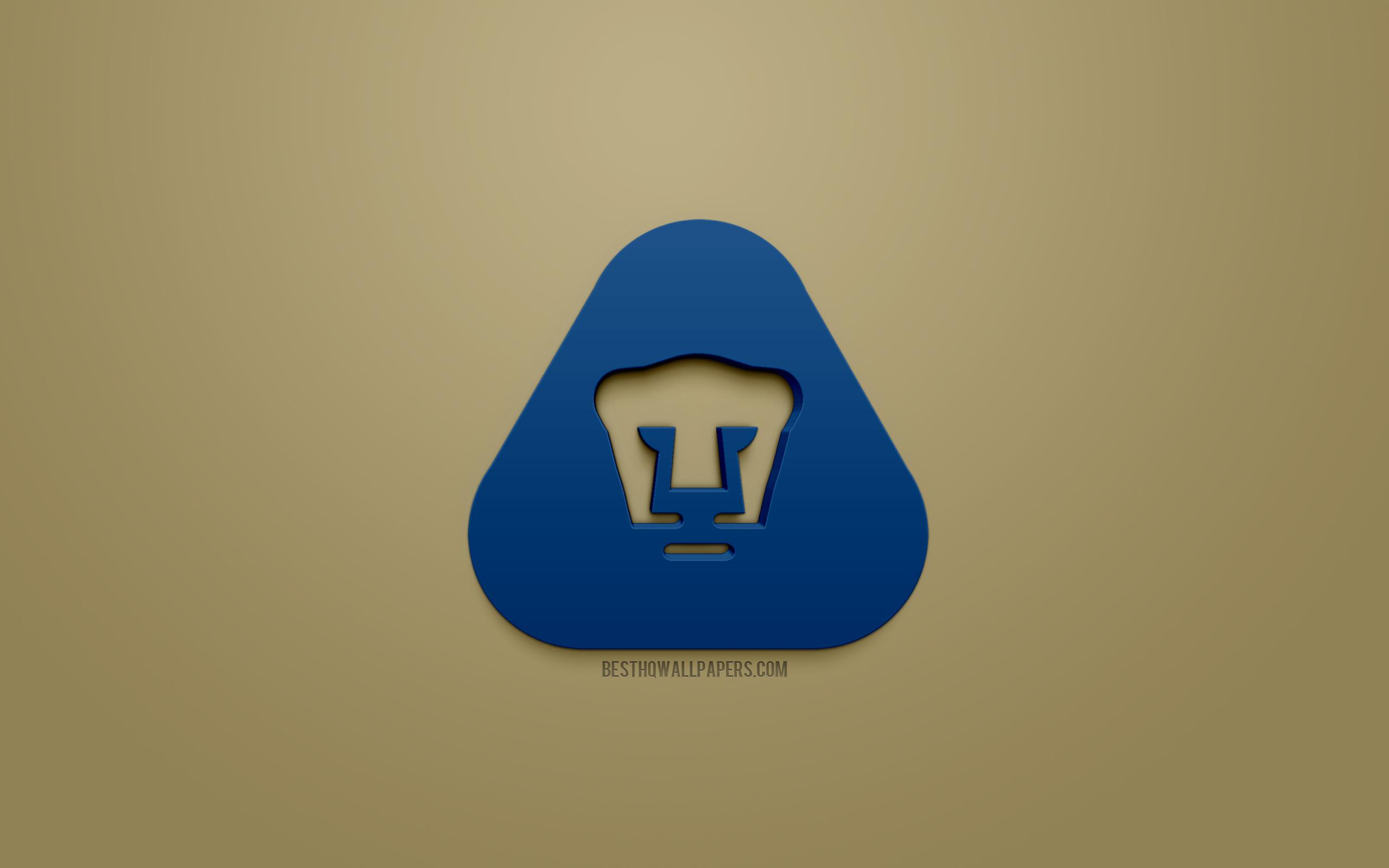 Download wallpapers UNAM Pumas Club Universidad Nacional blue 3d 2560x1600