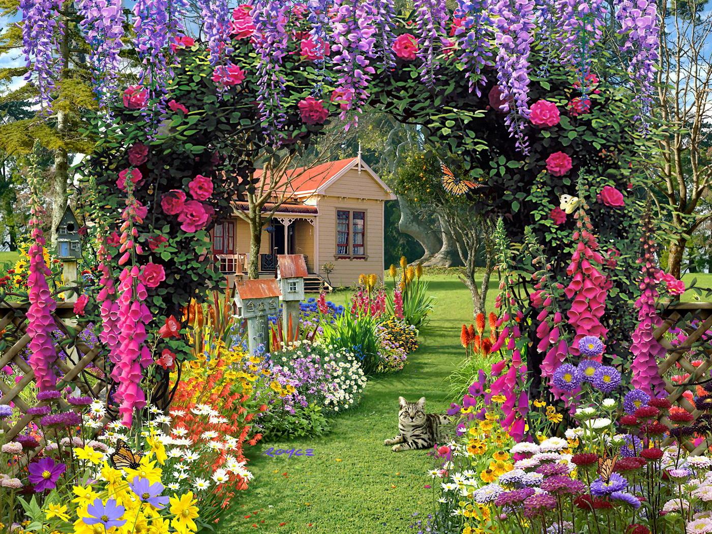 Wallpapers Fair Luxurious Flower Garden HD Widescreen Wallpaper 1400x1050