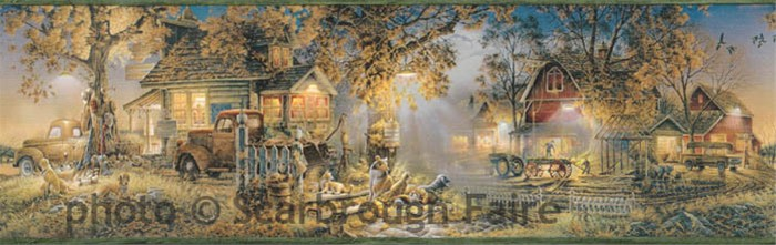 Terry Redlin Farm Wallpaper Border LL50151B country barn decor 700x221