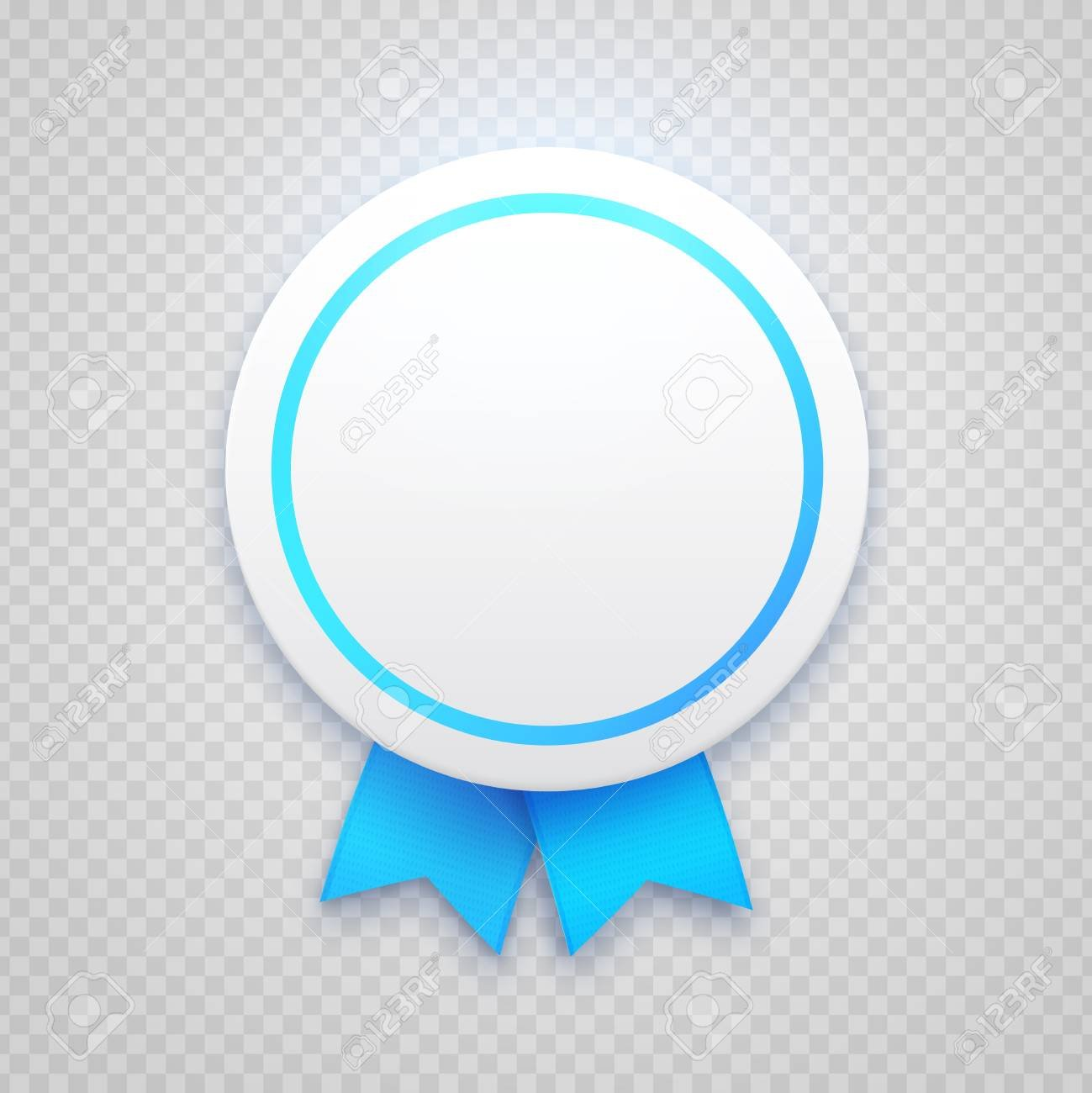 Round Paper Badge With Blue Ribbon On Transparent Background 1299x1300