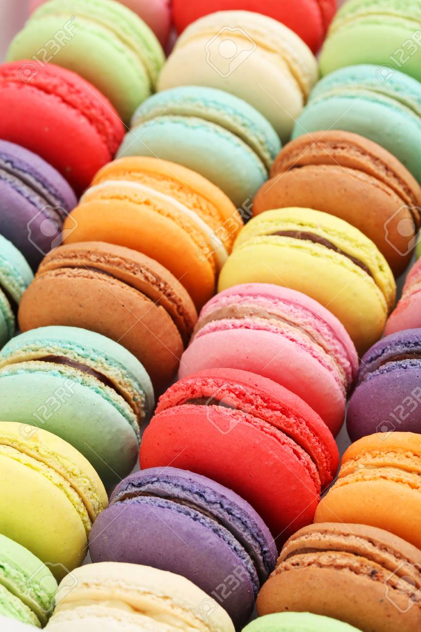 French Colorful Macarons Background Close Up Stock Photo Picture 866x1300
